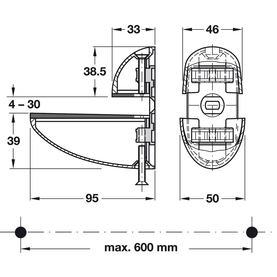 200 Hafele Connector Housing System Without Dowel Ridge For Wood 16 mm Thick H